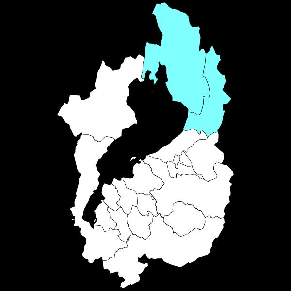 長浜市は琵琶湖の東です。