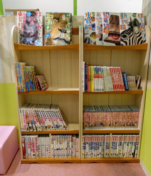 赤ちゃんから小学生向けの本が並びます。でも図書館でよいかな…
