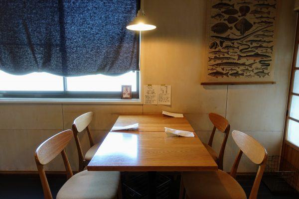 1階には2席のテーブルが2つと、4席のテーブルが1つありました。